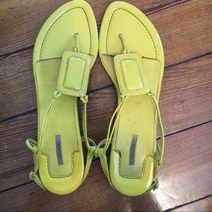 Neon Yellow Geometric Max Studio Sandals